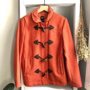 GAP Orange Wool Toggle Pea coat Size Small